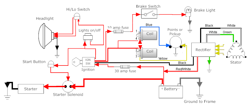 caf racer wiring bikebrewers com rh bikebrewers com Electrical Wiring Diagrams for Motorcycles Honda Elite Wiring-Diagram