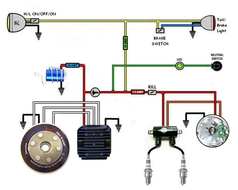 caf racer wiring bikebrewers com rh bikebrewers com Honda Motorcycle Wiring Color Codes Honda Motorcycle Repair Diagrams