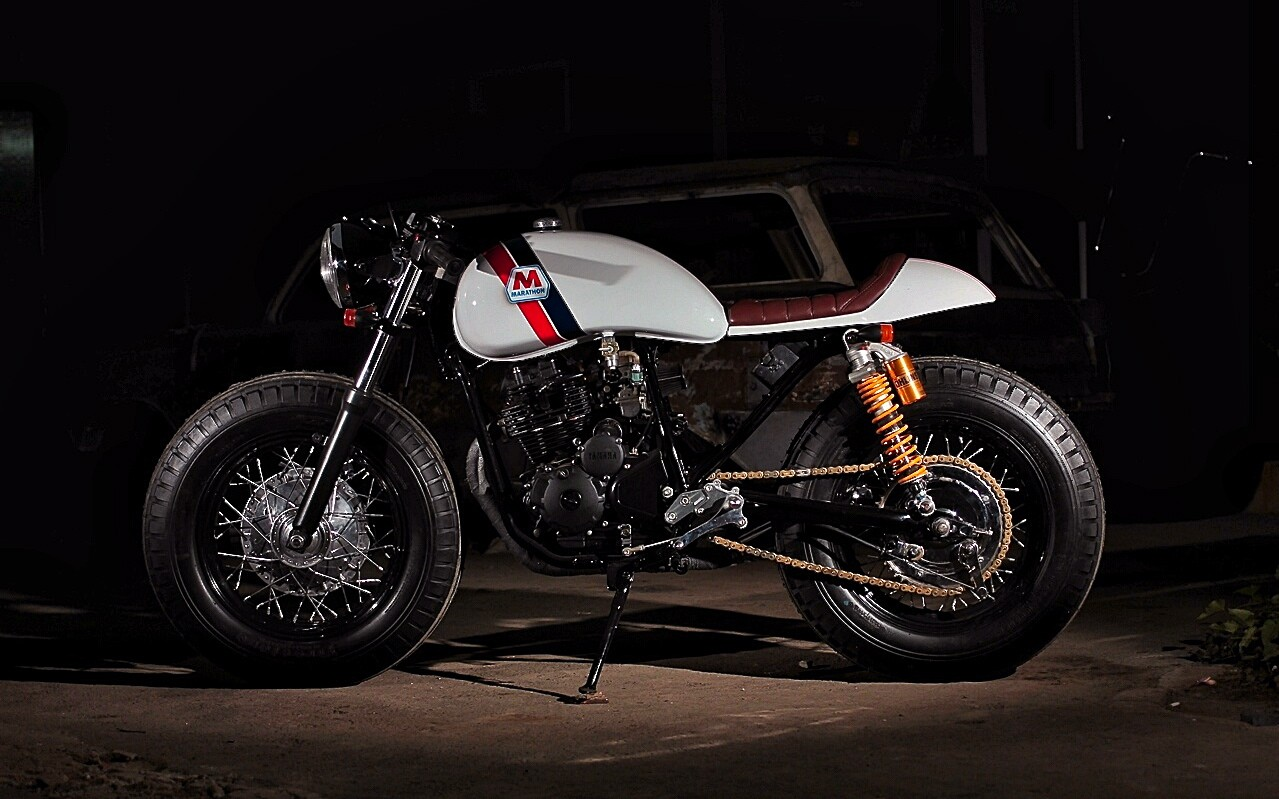 Yamaha Scorpio Cafe Racer By Studio Motor on kawasaki rims